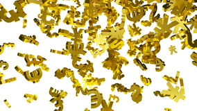 Falling Gold Currency Symbols stock video footage