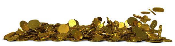 Falling gold dollar coins Stock Photo