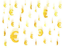 Falling gold euro symbols Royalty Free Stock Images