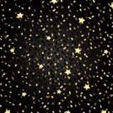 Falling gold glitter Confetti and Stars on black Background. Eps10 Vector background Royalty Free Stock Photo