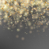 Falling gold glitter particles. EPS 10. Falling gold glitter particles and lights effect. Golden sparkling template for brightly design. Star dust sparks in Stock Photography