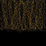 Falling gold particles on black background. Stock Photography