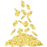 Falling gold point coins Stock Image