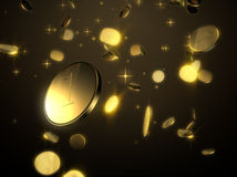 Falling goldein  coins Royalty Free Stock Image