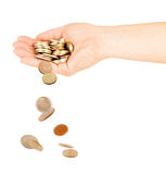 Falling Golden Coins Isolated Stock Photo