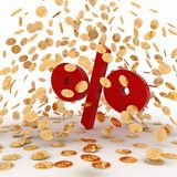 Falling golden coins on percent Royalty Free Stock Images