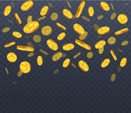 Falling golden coins on a transparent background. Golden Rain. Illustration Royalty Free Stock Images