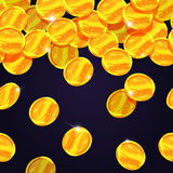 Falling golden coins. Vector seamless border. Wealth coins rain, illustration of financial coin Stock Image