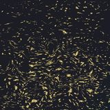Falling golden confetti on a dark background stock illustration