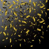 Falling golden confetti on dark background. Vector holiday illustration. Falling golden confetti on dark background. Vector holiday illustration Royalty Free Stock Image