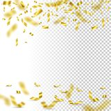 Falling golden confetti on transparent background. Vector holiday design element. Falling golden confetti on transparent background. Vector holiday design Stock Photos