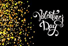 Falling golden hearts on black background with handmade letterin. G. Valentine day pattern with confetti. Vector illustration for holiday Stock Photo