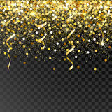 Falling golden particles on a black background.  Stock Photography