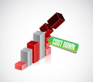Falling graph cost down chart illustration Royalty Free Stock Photos