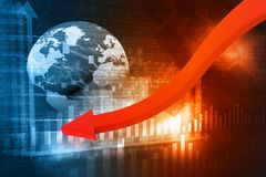 Falling graph of global stock market Stock Images