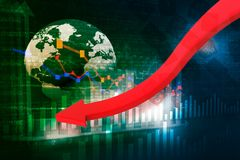 Falling graph of global stock market Stock Photography