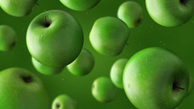 Falling green apples and water drops. 3D rendering. Falling green apples and water drops against green background Stock Illustration