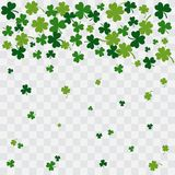 Falling green clover leaves on transparent background. Vector royalty free illustration
