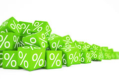 Falling green cubes with percent signs Stock Photos