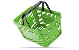 Falling green empty shopping basket. 3d illustration. 3D render, isolated on white background Royalty Free Stock Image
