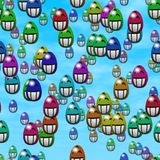 Falling grin smiling easter eggs generated texture Royalty Free Stock Photography
