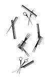 Falling hairdressing tools Royalty Free Stock Photography