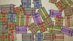 Falling Hand Drawn Gifts Background On Old Paper. High-Quality Loopable Animation. Ideal For Your Christmas / Birthday Related Projects. 4K, 60fps vector illustration