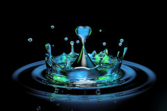 Falling heart shaped water drop into the water Stock Photography