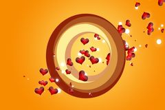 Falling hearts. Image of falling hearts and particles Stock Photo