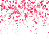 Falling hearts background. Vector white background. Vector falling red pink hearts on white transparent background Stock Images