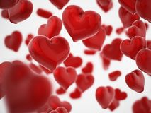Free Falling Hearts Background With DOF Effect. 3D Illustration Royalty Free Stock Image - 132707576