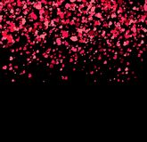 Falling hearts on black background. Valentine day or Women day pattern with pink confetti. Vector illustration for holiday Royalty Free Stock Photos