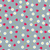 Falling hearts and flowers, seamless background. Vector illustration Royalty Free Stock Photo