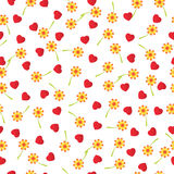 Falling hearts and flowers, seamless background. Vector illustration Royalty Free Stock Images
