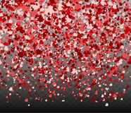 Falling hearts on transparent background. Valentine day or Women day pattern with pink and red confetti. Vector illustration for holiday Stock Images