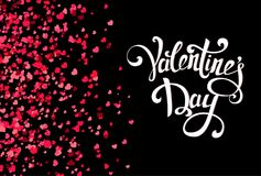 Falling hearts on transparent background with handmade lettering. Falling hearts on black background with handmade lettering. Valentine day pattern with pink and Royalty Free Stock Photos