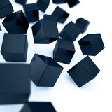 Falling and hitting cubes. Falling and hitting dark blue cubes on a white background Royalty Free Illustration