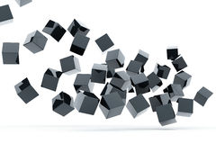 Falling and hitting metallic cubes Stock Photos
