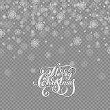 Falling holidays decoration snow  on transparent. Background with lettering merry christmas, snowflakes, snowfall for your winter design, vector illustration Stock Image