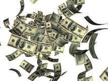 Falling hundred dollar bills. Falling one hundred dollar bills against a white background Stock Photos