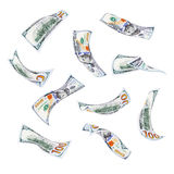 Falling hundred dollar bills. Collection of falling hundred dollar bills isolated on white background Stock Photos