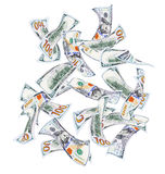 Falling hundred dollar bills Royalty Free Stock Images