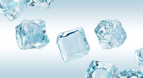 Falling ice cubes. Falling ce cubes isolated on light background, frozen water Stock Illustration