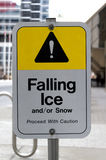 Falling ice warning sign Stock Image