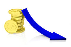 Falling of incomes. 3d render Royalty Free Stock Photography