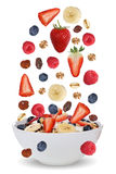 Falling ingredients of fruit muesli for breakfast in bowl with f Royalty Free Stock Images