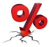 Falling Interest Rates. As a red percentage sign as a symbol of an economic crash with an arrow falling down as a decline in money to be payed or bad investment Royalty Free Illustration