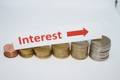 Rising interest rates. How to reduce costs, what´s have to be done while the interest rates are falling Stock Photos