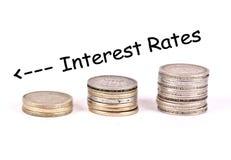Falling interest rates illustration. A n illustration depicting falling interest rates Stock Photo