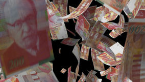 Falling Israeli banknotes money stock footage